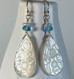 Swiss blue topaz & carved mother of pearl drop earrings in gold – Sara Nolte Designs