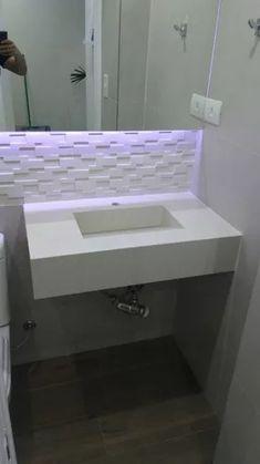 pia de porcelanato com cuba esculpida Puja Room, Bathroom Plans, My House, Decoration, Diy Home Decor, Sweet Home, New Homes, Bathtub, Interior Design