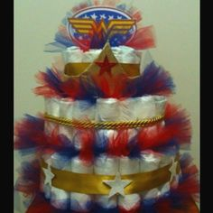 Wonder Woman Diaper Cake. A special order made by Me =)