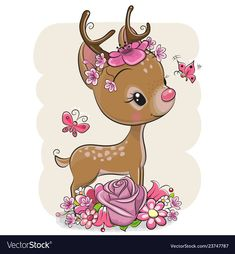 Cartoon Deer with flowerson a white background. Cute Cartoon Deer with flowers and butterflies on a white background royalty free illustration Cartoon Cartoon, Cute Cartoon Animals, Baby Animals, Cute Animals, Cute Dragons, Cute Clipart, Cute Cartoon Wallpapers, Tatty Teddy, Baby Deer
