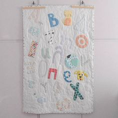 Colorful Personalized Modern Patchwork Alphabet ABC baby quilt, baby blanket, baby playmat, crib size quilt, Nursery Decor, Made to order