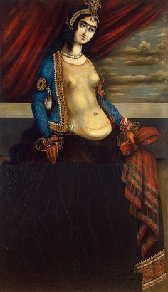 Woman Holding a Shawl Oil and glue colours on canvas, 145x85cm Origin: Iran, Mid-19th century