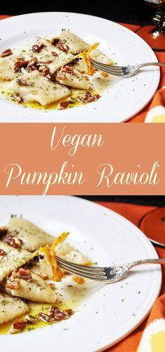 This vegan pumpkin ravioli recipe is made with real pumpkin and savory spices. This vegan pumpkin ravioli recipe is made with real pumpkin and savory spices. Vegan Pumpkin, Pumpkin Recipes, Veggie Recipes, Whole Food Recipes, Vegetarian Recipes, Cooking Recipes, Pumpkin Butter, Pumpkin Pumpkin, Pescatarian Recipes