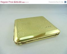 CLEARANCE SALE, Brass tone vintage cigarette case with initials MBG or Mbj on Etsy, $20.00