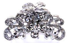 Usa Hair Claw Woman Elegant Metal Flower Rhinestones Crystal Hair Claw Clip Pin Drip-Dry Clothing, Shoes & Accessories Fashion Jewelry