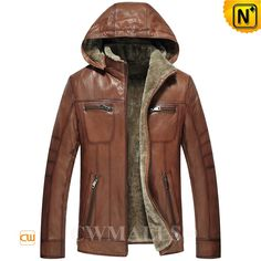 CWMALLS® Mens Shearling Leather Hooded Jackets CW836500 Classic shearling leather jacket crafted from natural, smooth Turkey lambskin leather shell with soft shearling lined, brown shearling jacket featuring with removable hood, front full zip closure, slant hand pockets,offers plenty of warmth and protection. www.cwmalls.com PayPal Available (Price: $1357.89) Email:sales@cwmalls.com