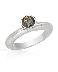 NEW-PILGRIM-SKANDERBORG-DENMARK-Grey-Crystal-Ring-in-Silver-Base-Metal-Gray
