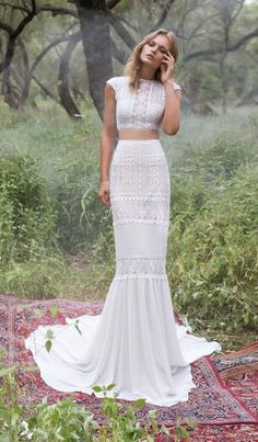 Two Pieces Geometric Lace Mermaid Wedding Dresses Ivory Chiffon Simple Bridal Gowns Wedding Dress Tea Length, Wedding Dress Black, Simple Wedding Gowns, Two Piece Wedding Dress, Wedding Ideas, Chic Wedding, Relaxed Wedding Dress, Wedding Reception, Two Piece Gown