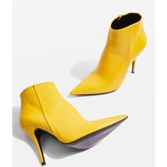 Topshop Heat Ankle Boots (475 RON) ❤ liked on Polyvore featuring shoes, boots, ankle booties, yellow, leather high heel boots, topshop booties, high heel booties, ankle bootie boots and leather ankle bootie