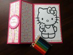 Papierdesign met Stampin' Up!: kids birthday card - coloring