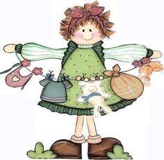 Country Little Girl clip art