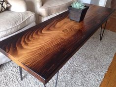 Torched Deodar Cedar Slab Coffee Table in Oakland, CA (sells for $550)