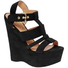 River Island Erika Cut Out Platform Wedges ($85) ❤ liked on Polyvore
