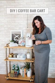 DIY Coffee Bar Cart Tutorial, a rustic take on the classic bar cart, build it yourself and use it for coffee!