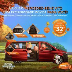 Faça como o Snoopy e sua turma! #VáDeMovida  Alugue o Mercedes-Benz Vito e viaje com a galera com muito conforto e tranquilidade.  Alugue AGORA: www.movida.com.br