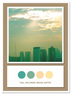 Color Card 008: Teal, Sea Green, Melon, and Butter