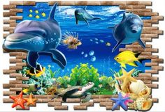 Sensational 3D Dolphin Wall Poster - Removable PVC Vinyl
