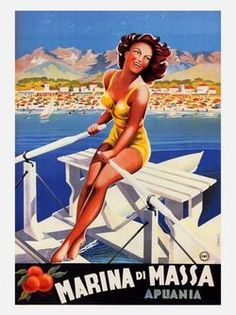 Painting - Girl Rowing A Boat In Marina Di Massa, Italy - Vintage Travel Poster by Studio Grafiikka , Retro Poster, Poster Ads, Poster Prints, Poster City, 1950s Posters, Ski Posters, Beach Posters, Vintage Italian Posters, Vintage Travel Posters