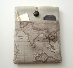 Ipad case funky iPad cover with Pockets World Map by Covercraft. $29.50, via Etsy.