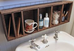 Great idea for storage in a bathroom with no counter space.