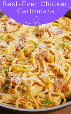 Best-Ever Chicken Carbonara Diner Recipes, Pork Recipes, Pasta Recipes, Chicken Recipes, Cooking Recipes, Chicken Meals, Healthy Recipes, Chicken Carbonara Pasta