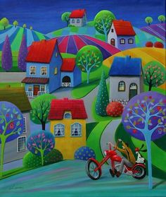 Paintings and illustrations by Iwona Lifsches. Art presentation and sale of original paintings and other art products. Arte Pop, Colorful Paintings, Naive Art, Art Studies, Whimsical Art, Figurative Art, Painting Inspiration, Art Lessons, Home Art
