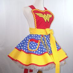 Wonder Woman Apron so cute! character dress up apron, great DIY craft sewing inspiration Dress Up Aprons, Character Dress Up, Extra Long Ties, Wonder Woman, Couture, My Favorite Things, Halloween, Sewing, Craft