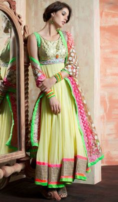 G3fashions Yellow georgette embroidered designer salwar suit  Product Code: G3-LSA107165 Price: INR RS 7735
