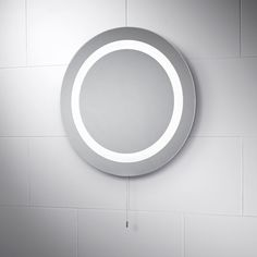 Pebble Grey Round LED Illuminated Battery Powered Bathroom Mirror with Pull Cord to Activate Lights Azure Size: Diameter Pebble Grey, Grey Bathrooms, Bathroom Accessories, Led, Lights, Mirror, Free Delivery, Search, Home Decor