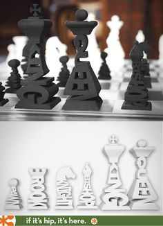 3D Printed Typographic Chess Set Available in 13 colors/materials. #3dprinting