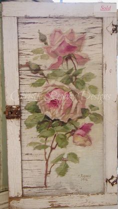 Original rose on tattered door, design after C.Klien~ C.Repasy