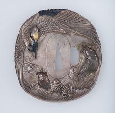 Tsuba with design of crane and minogame | Museum of Fine Arts, Boston