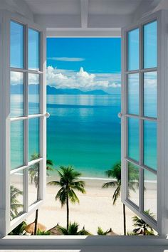 Large Removable Beach Sea Window Decal Wall Sticker Home Decor Exotic Beach View Art Wallpaper Mural Window View, Open Window, Window Wall, Window Poster, Photos Voyages, Beach Pictures, Belle Photo, Beautiful Beaches, Beautiful World