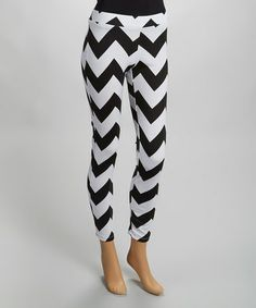 Another great find on #zulily! Black & White Zigzag Pants - Women by Magic Fit #zulilyfinds