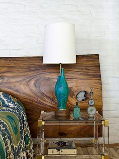 in my dreams headboard and italian studio pottery lamp