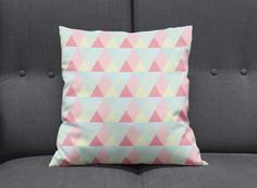 Pink cushion, Blue cushions, Pastel cushion, Pink throw pillow, Bedroom accessories, Girls bedroom decor, Nursery decor, Geometric cushions by ShadowbrightLamps on Etsy https://www.etsy.com/uk/listing/641525755/pink-cushion-blue-cushions-pastel