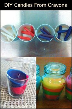 Do you have old crayons you do not use? Why not turn them into classy and colorful candles that you can use at your home or make it as a gift for your loved ones. Making Crayons, Diy Crayons, Crayon Crafts, Diy Candles With Crayons, Diy Candles Easy, Homemade Candles, Easy Diy Projects, Craft Projects, Recycled Crayons
