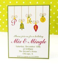 Christmas Party Invitation Holiday Ornaments. $18.00, via Etsy.