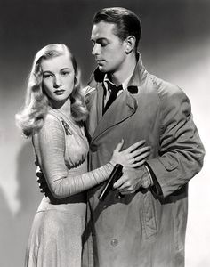 """Veronica Lake and Alan Ladd in the 1942 Film Noir """"This Gun For Hire""""- Publicity Still."""