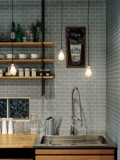 Kitchen Wall Tiles, Kitchen Dining, Kitchen Images, Cafe Interior, Bar, Sweet Home, New Homes, House Design, Room
