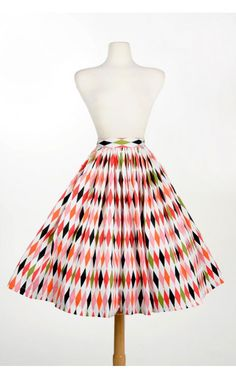 Jenny Gathered Full Skirt in 1950s Harlequin Print - Clothing | Pinup Girl Clothing