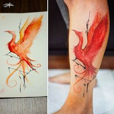 Watercolor Phoenix Tattoo