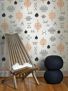 Handmade wallpaper with leaf motifs designed by Avery Thatcher for Juju Papers. #wallpaper #vintage