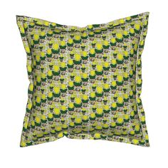 Serama Throw Pillow featuring Tulips and Daisies Yellow and White Flowers Fabric…
