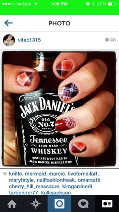 Poised plaid matte jamberry nails with Frill accent nail anddddd Jack Danielssss get the look! catherinevolkmar.jamberrynails.net and the Jack can be purchased at your local liquor store