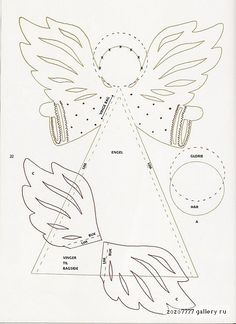 christmas craft ideas: paper angel tutorial - crafts ideas - crafts for kids Angel Crafts, Xmas Crafts, Crafts For Kids, Paper Crafts, 3d Paper, Angel Ornaments, Felt Ornaments, Christmas Ornaments, Christmas Templates
