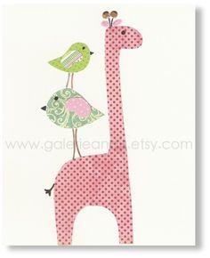Nursery Girl Art - Baby Room Decor - nursery giraffe - nursery bird - kids giraffe - baby art - Elegance print - by GalerieAnais