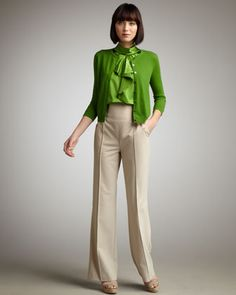 Cashmere Cardigan, Ruffled Silk Top & High-Waist Trousers by Magaschoni at Neiman Marcus.