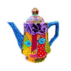 polymer clay and Porcelain teapot 3Dcolorful millefiori flowers whimsical hostess entertaining,floral pattern. $75,00, via Etsy.
