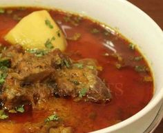 Manpasand Aloo Gosht Recipe by Shireen Anwar Lamb Recipes, Spicy Recipes, Curry Recipes, Meat Recipes, Indian Food Recipes, Asian Recipes, Cooking Recipes, Chicken Recipes, Pakistani Dishes